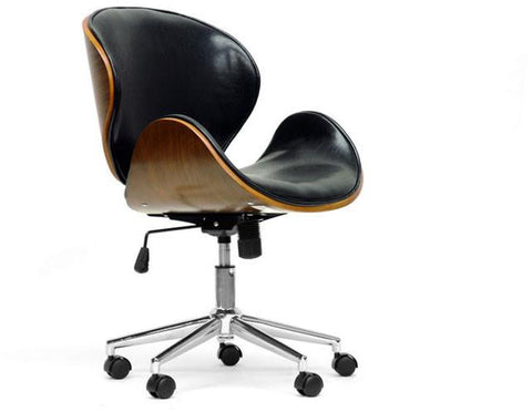 Wholesale Interiors SDM-2240-5 Walnut/Black Bruce Walnut and Black Modern Office Chair - Each - Peazz.com