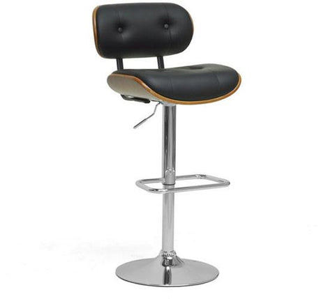 Wholesale Interiors SDM2228-Walnut/Black-BS Leona Walnut and Black Modern Bar Stool - Each - Peazz.com