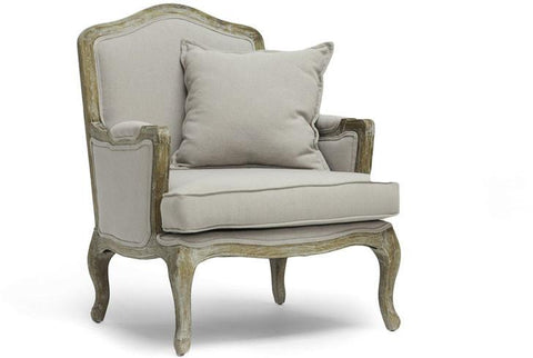 Wholesale Interiors TA2256-Beige Constanza Classic Antiqued French Accent Chair - Each - Peazz.com