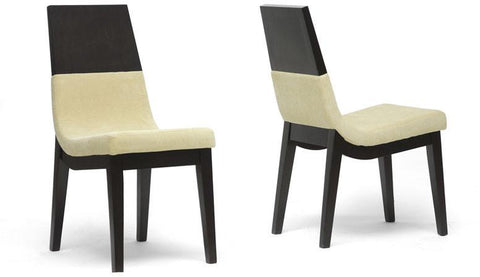 Wholesale Interiors TMH279-DC Prezna Dark Brown and Beige Modern Dining Chair - Set of 2 - Peazz.com