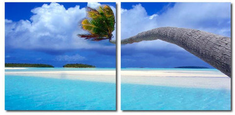 Wholesale Interiors VC-2073AB Windswept Palm Mounted Photography Print Diptych - Each - Peazz.com