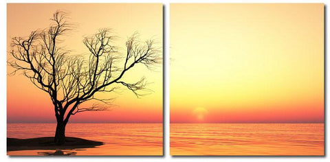 Wholesale Interiors VC-2078AB Blazing Horizon Mounted Photography Print Diptych - Each - Peazz.com