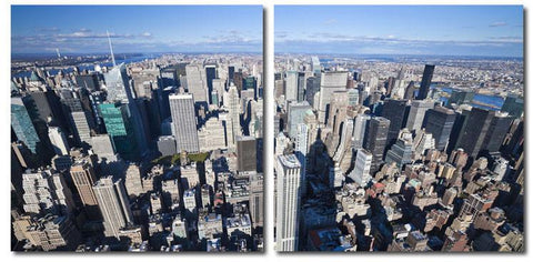 Wholesale Interiors VC-2123AB Aerial Manhattan Mounted Photography Print Diptych - Each - Peazz.com