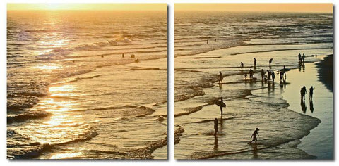 Wholesale Interiors VC-2158AB Wading in the Waves Mounted Photography Print Diptych - Each - Peazz.com