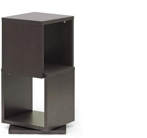 Wholesale Interiors WI4888 Ogden Dark Brown 2-Level Rotating Modern Bookshelf - Each - Peazz.com