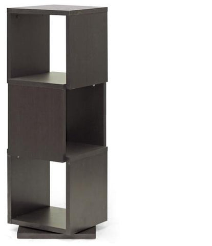 Wholesale Interiors WI4889 Ogden Dark Brown 3-Level Rotating Modern Bookshelf - Each - Peazz.com