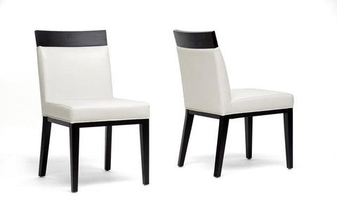 Wholesale Interiors Y-1012-DU8143 Clymene Black Wood and Cream Leather Modern Dining Chair - Set of 2 - Peazz.com