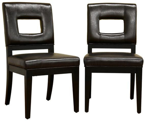 Wholesale Interiors Y-765-001-1 Faustino Dark Brown Leather Dining Chair - Set of 2 - Peazz.com
