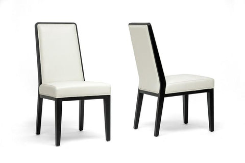Wholesale Interiors Y-976-DU8143 Theia Black Wood and Cream Leather Modern Dining Chair - Set of 2 - Peazz.com