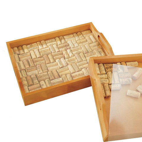 Wine Enthusiast 340 66 41 Wine Cork Serving Tray Kit - Peazz.com