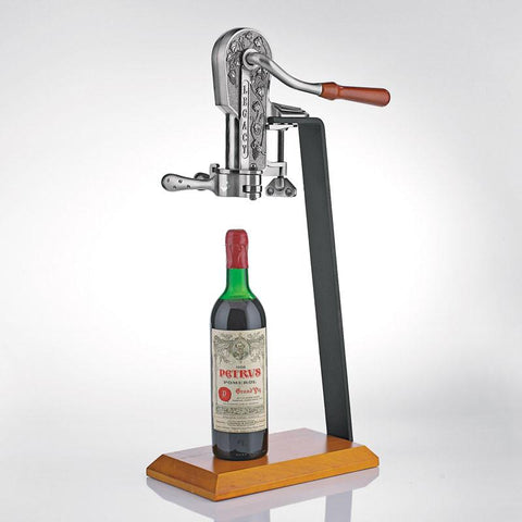 Wine Enthusiast 433 12 87 02 Legacy Corkscrew with Birch Stand (Antique Pewter) - Peazz.com