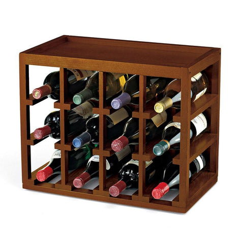 Wine Enthusiast 640 01 01 12 Bottle Cube-Stack Wine Rack (Walnut Stain) - Peazz.com
