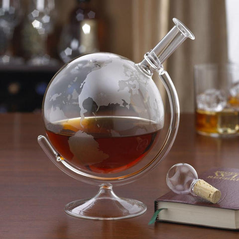 Wine Enthusiast 761 31 01 Etched Globe Spirits Decanter - Peazz.com