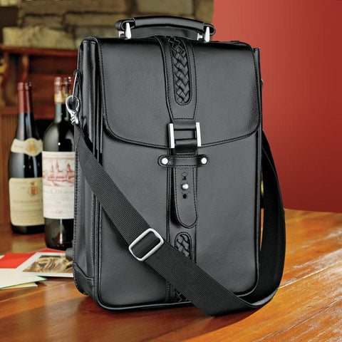 Wine Enthusiast 953 02 10 Genuine Leather 2-Bottle Wine Tote - Peazz.com