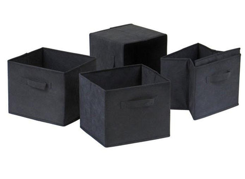 Winsome Wood Capri Set of 4 Foldable Black Fabric Baskets 22411 - Peazz.com