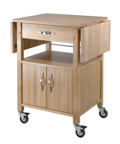 Winsome Wood 84920 Kitchen Cart, Double Drop Leaf, Cabinet with shelf - Peazz.com
