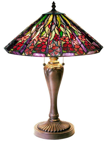 Tiffany Style Floral Table Lamp with 3-D Shade by Warehouse of Tiffany 1681+BB424 - Peazz.com