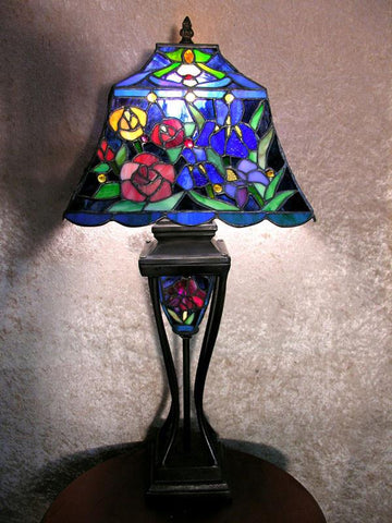 Tiffany Style Floral Table Lamp with Lighted Base by Warehouse of Tiffany 2295#LS+BB635 - Peazz.com