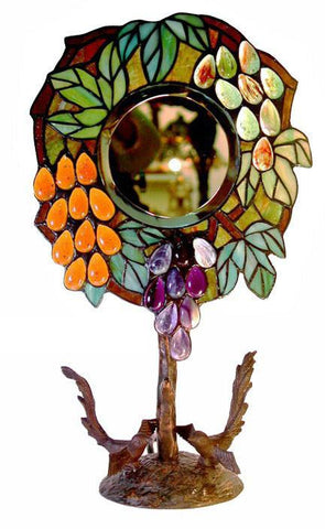 Tiffany Style  Mirror with Grape Design Table Lamp by Warehouse of Tiffany 3044T+BB873 - Peazz.com