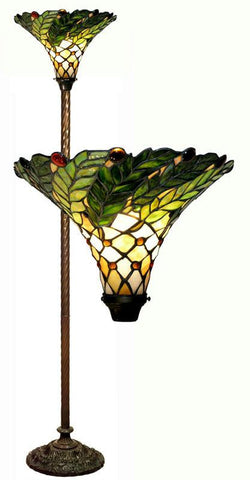 Tiffany Style Green Leafy Torchiere Lamp by Warehouse of Tiffany 3742#+BB75B - Peazz.com