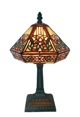 Warehouse of Tiffany 766+SB86 or NHS081234-533S Tiffany Style Floral Mosaic Table Lamp - Peazz.com