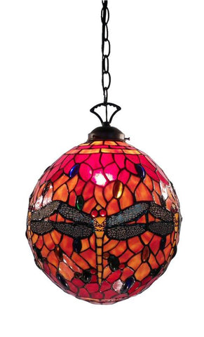 Warehouse of Tiffany NSC11490 or NN13209A Tiffany Style Red Globe Dragonfly Table Lamp - Peazz.com