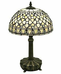 Tiffany-style White Jewel Lamp by Warehouse of Tiffany T12043TGRA - Peazz.com