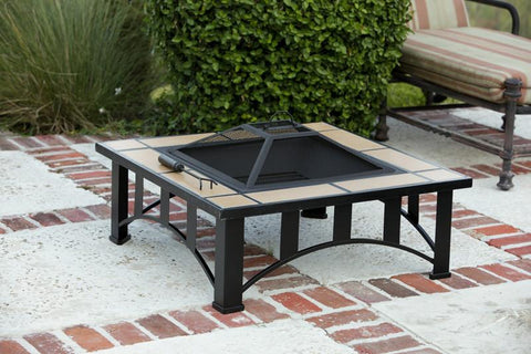 Well Traveled Living 60243 Tuscan Tile Mission Style Square Fire Pit - Peazz.com