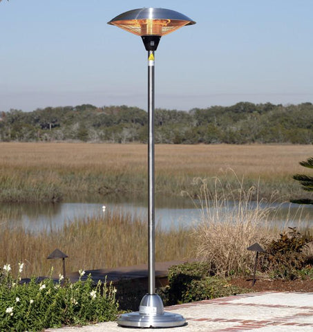 Well Traveled Living 60402 Stainless Steel Floor Standing Round Halogen Patio Heater - Peazz.com