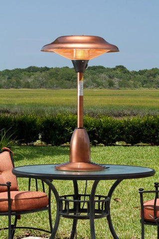 Well Traveled Living 60659 Copper Finish Table Top Round Halogen Patio Heater - Peazz.com