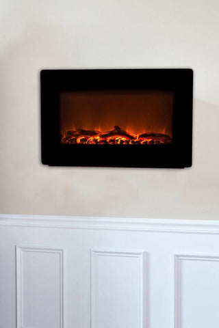 Well Traveled Living 60757 Black Wall Mounted Electric Fireplace - Peazz.com