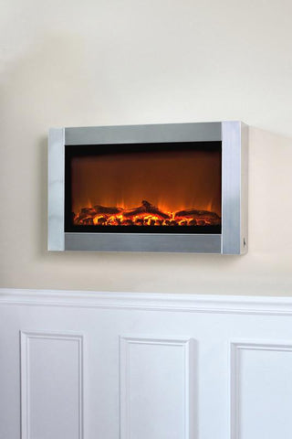 Well Traveled Living 60758 Stainless Steel Wall Mounted Electric Fireplace - Peazz.com