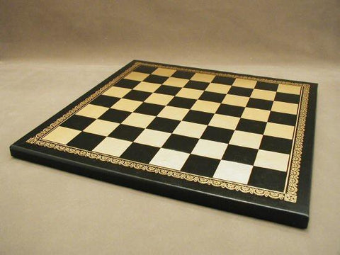"13"" Pressed Leather Board, Black and Gold, 1.25"" Square - Peazz.com"