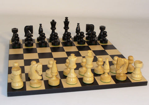 "Black/Natural Boxwood Russian Knight Weighted Felted Chess Pieces w/ Black/Maple 14"" Chess Board - Peazz.com"