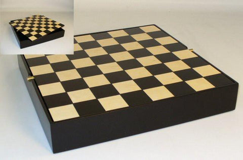 "12"" Black/Maple Chess Board with Chest - Peazz.com"