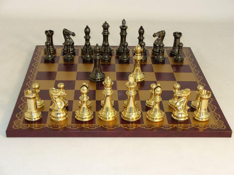 40BCDQ-203GR Brass Staunton Burgundy & Gold Leather Board - Peazz.com