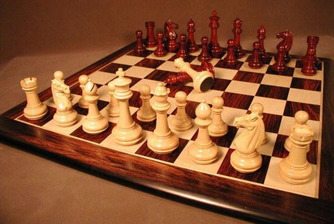 Rosewood/Maple Thick Chess Board w/ Meghdoot Bud RW Chessmen - Peazz.com