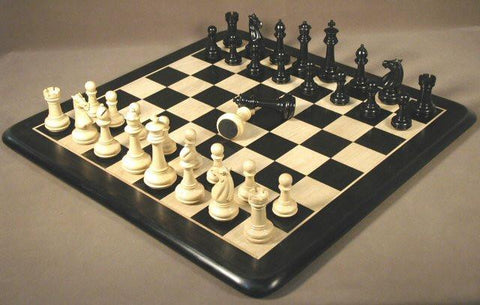 "Ebony & Maple Chess Board, Meghdoot Ebony Chess Pieces 4"" King - Peazz.com"