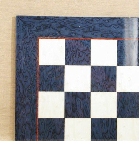 "17 3/10"" Blue Briar/Ivory Glossy Chess Board, 1.75"" Square - Peazz.com"