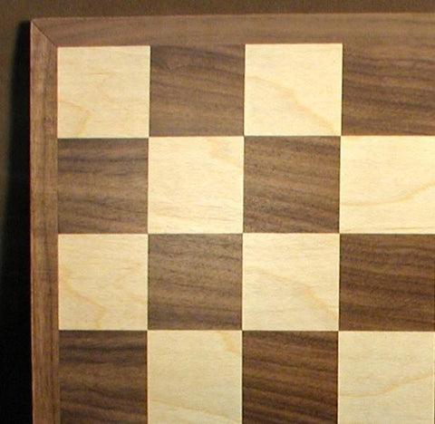"17"" Walnut and Maple Chess Board, 2"" Squares, Matte Finish - Peazz.com"