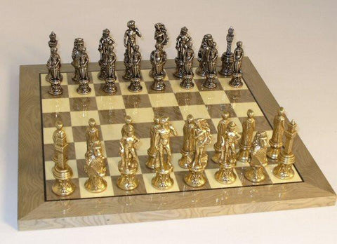 "Florence Metal Chess Pieces 3 1/4"" King and Grey Briar Glossy 13 1/4"" Chess Board - Peazz.com"