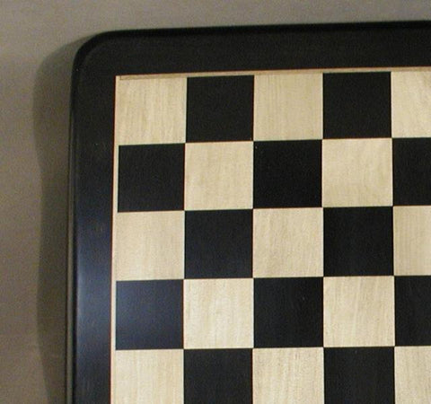 "21"" Ebony and Maple Chess Board with Frame, Rounded Edges, 2 1/5"" Squares, 1"" Thick, Matte Finish - Peazz.com"