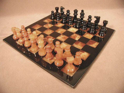 "Alabaster Chess Set with 14 1/2"" Black/Brown Chess Board, Black Frame, 3"" King - Peazz.com"