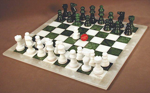 "Alabaster Chess Set, Green/White Chess Board with White Frame, 3"" King - Peazz.com"