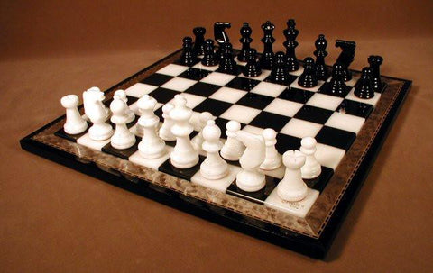 "15"" Alabaster Chess Set, Inlaid Wood Frame, Black & White, 3"" King - Peazz.com"