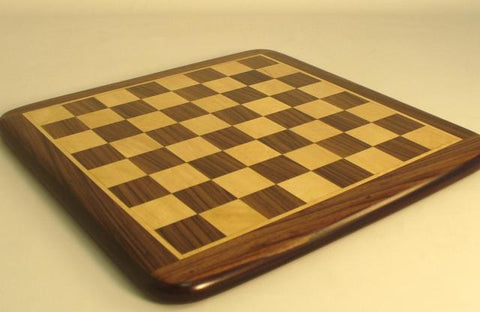 "15"" Rosewood and Maple Chess Board with Frame and Rounded Edge, 1 1/2"" Squares Matte Finish - Peazz.com"