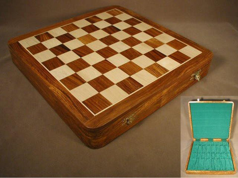 "17 1/2"" Sheesham & Boxwood Chess Board with Chest - Peazz.com"