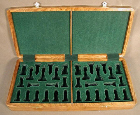 "Sheesham Wood Box w/ Slots for 4"" Chessmen - Peazz.com"