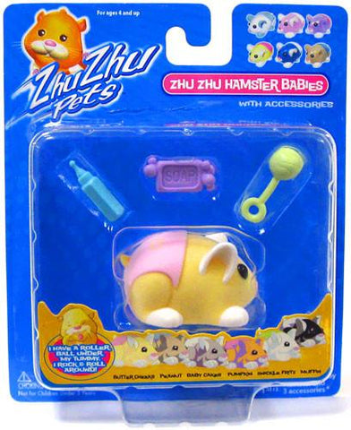 Zhu Zhu Pets Hamster Babies Butter Cheeks Yellow Baby with Pink Diaper - Peazz.com
