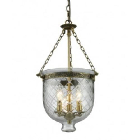 Z-Lite Tudor Collection Antique Brass Finish Four Light Pendant - Peazz.com